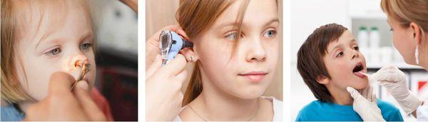 Осмотр полости носа, рта и слухового прохода